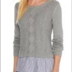Crown & Ivy  Curvy Heather Grey 2fer Sweater XXL